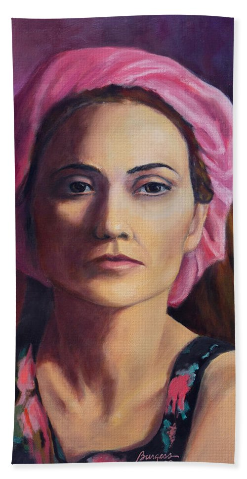 Portrait Hand Towel featuring the painting Woman In A Pink Turban by Keith Burgess