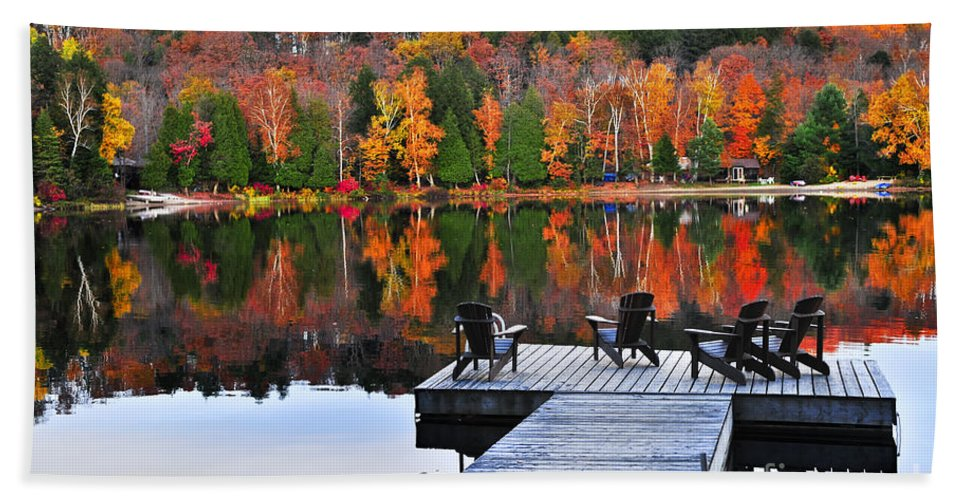 Lake Hand Towel featuring the photograph Wooden Dock On Autumn Lake by Elena Elisseeva