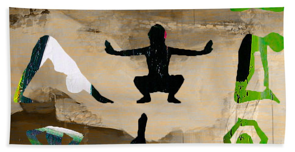 Namaste Paintings Hand Towel featuring the mixed media Yoga Poses by Marvin Blaine
