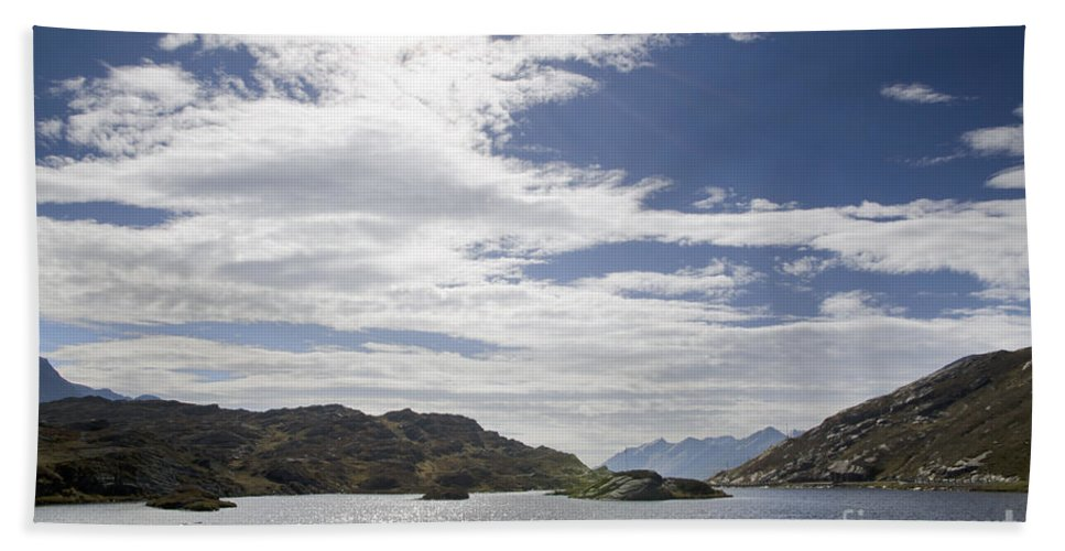 Panoramic View Bath Sheet featuring the photograph Alpine Lake by Mats Silvan