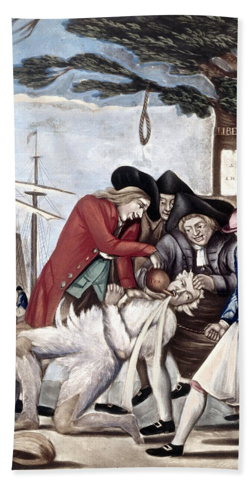 1773 Hand Towel featuring the photograph Boston Tea Party, 1773 by Granger