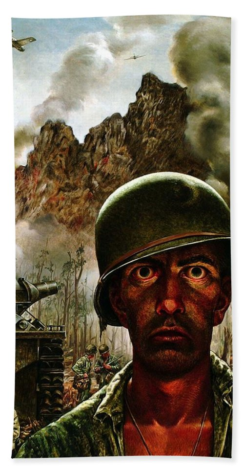 World War Ii Bath Sheet featuring the painting 2000 Yard Stare by Mountain Dreams