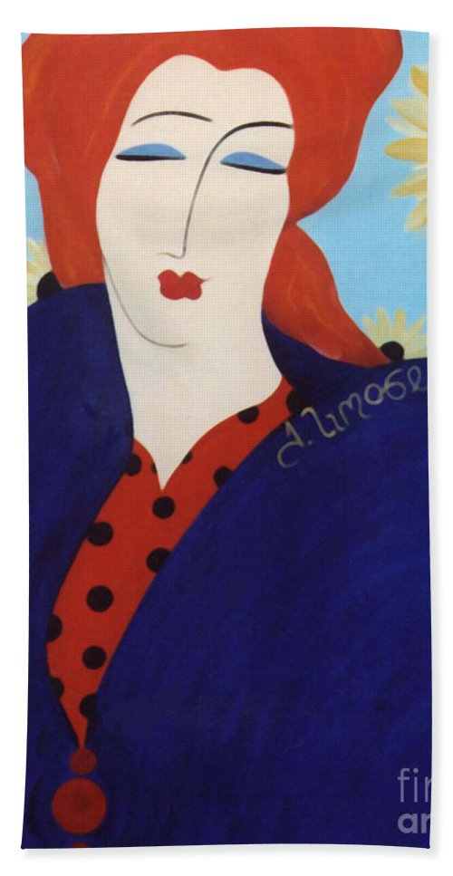#female Bath Towel featuring the painting 2001 Collection by Jacquelinemari