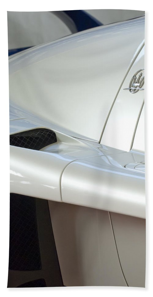 2005 Maserati Mc12 Bath Sheet featuring the photograph 2005 Maserati Mc12 Emblem by Jill Reger