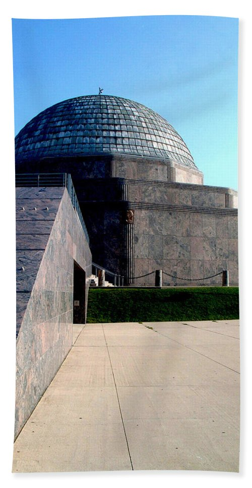 Vertical Bath Sheet featuring the photograph 2009 Adler Planetarium With Glass Sky Pavilion II Chicago Il Usa by Sally Rockefeller