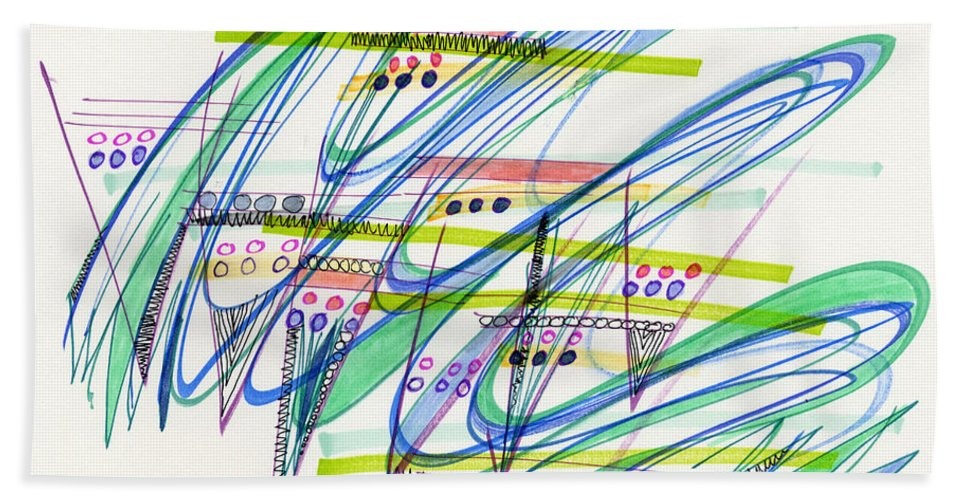 Abstract Hand Towel featuring the drawing 2012 Drawing #9 by Lynne Taetzsch