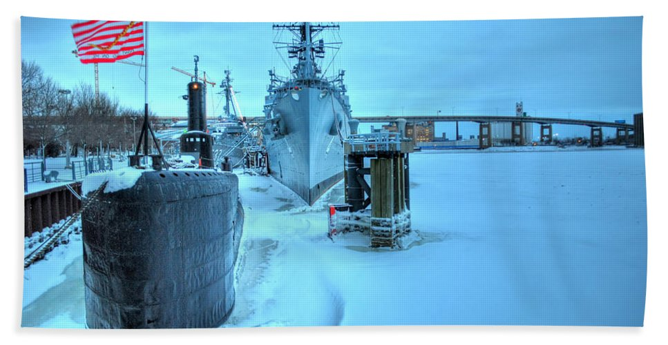 Frozen Water Bath Sheet featuring the photograph 2014 Naval Park by Michael Frank Jr