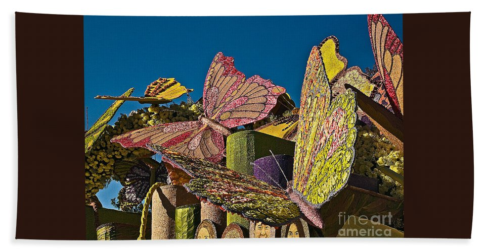 Butterflies Hand Towel featuring the photograph 2015 Rose Parade Float Of Butterflies 15rp045 by Howard Stapleton