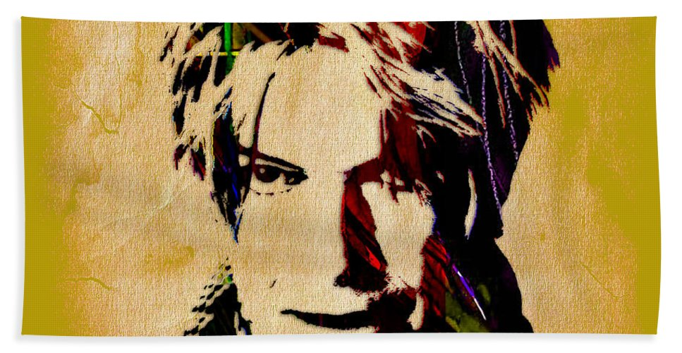 David Bowie Bath Sheet featuring the mixed media David Bowie Collection by Marvin Blaine