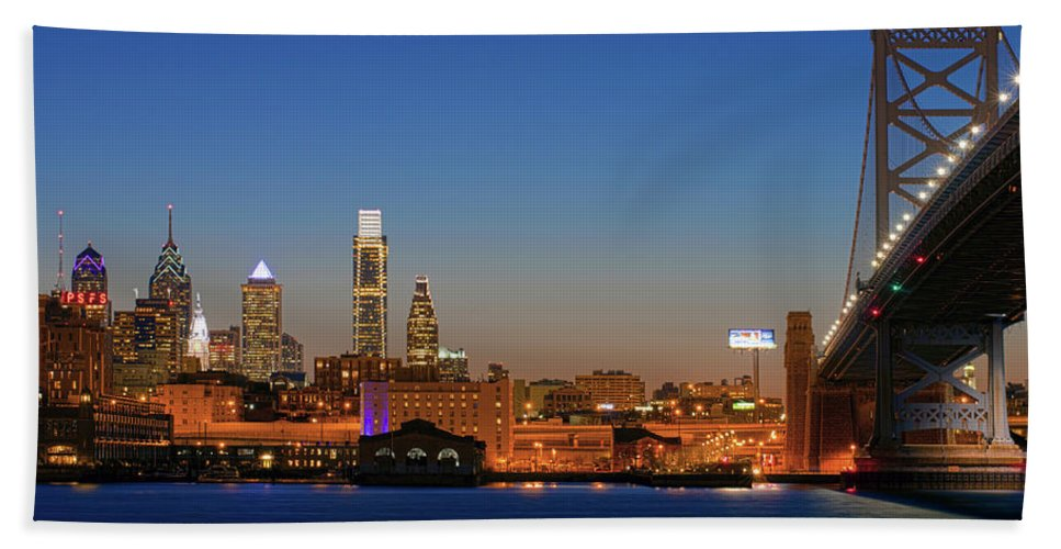 Photography Bath Sheet featuring the photograph Skyscrapers At The Waterfront by Panoramic Images