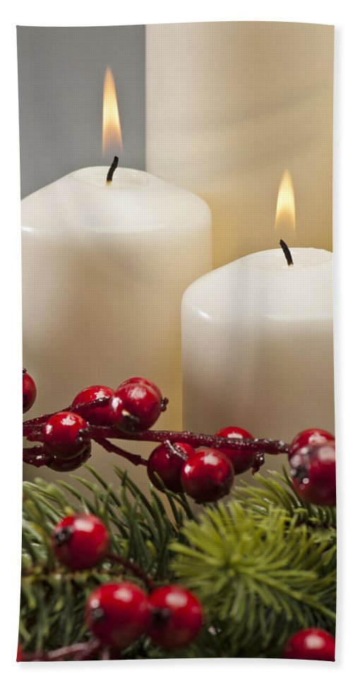 Cone Hand Towel featuring the photograph Advent Wreath by U Schade