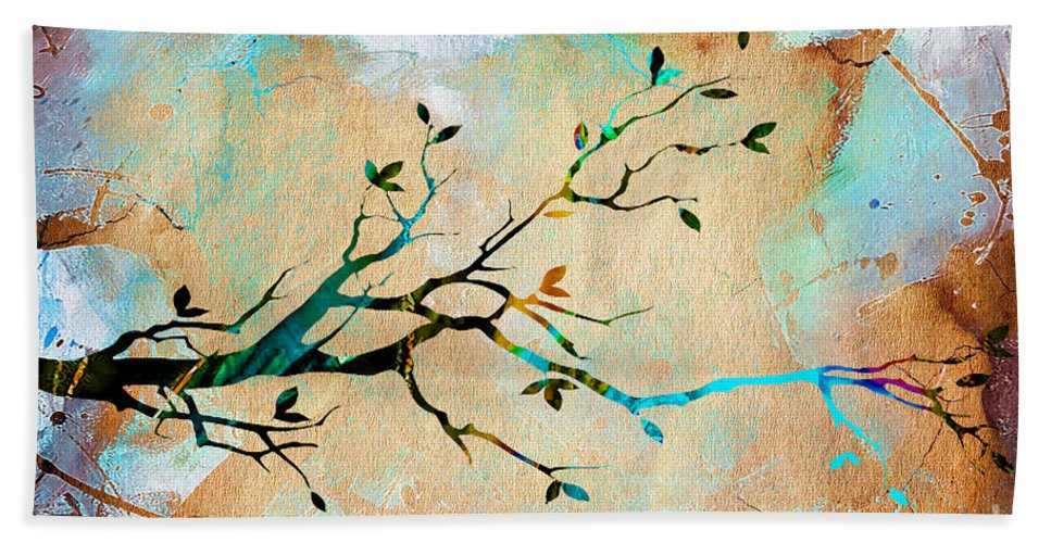 Tree Hand Towel featuring the mixed media Tree Branch Collection by Marvin Blaine