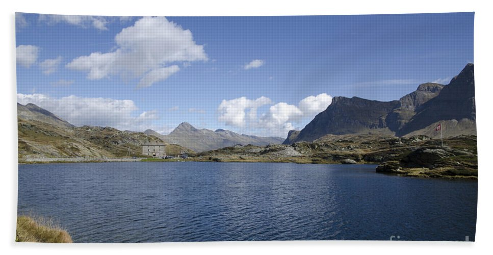 Panoramic View Hand Towel featuring the photograph Alpine Lake by Mats Silvan