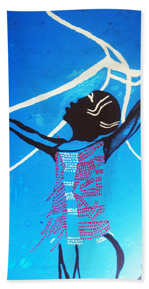 Jesus Hand Towel featuring the painting Dinka Dance - South Sudan by Gloria Ssali