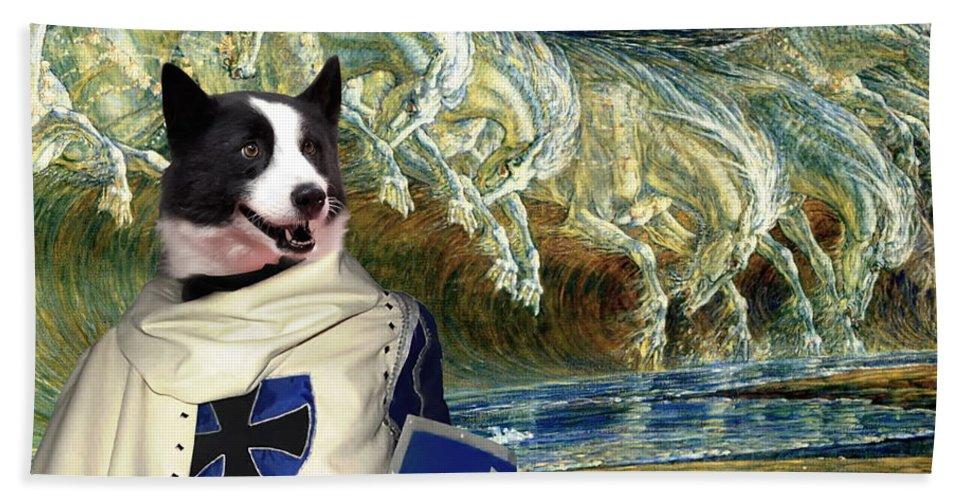Karelian Bear Dog Hand Towel featuring the painting Karelian Bear Dog Art Canvas Print by Sandra Sij