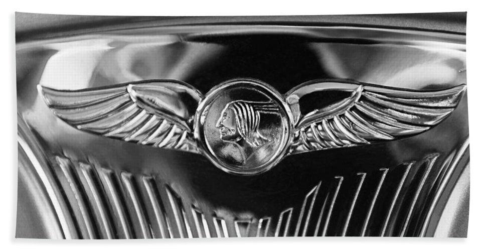1933 Pontiac Emblem Bath Sheet featuring the photograph 1933 Pontiac Emblem by Jill Reger