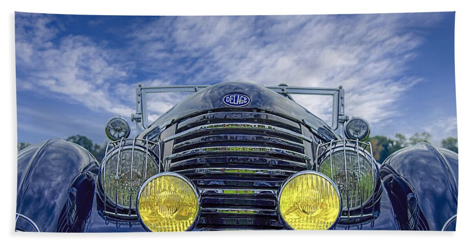 Antique Hand Towel featuring the photograph 1935 Delage by Jack R Perry