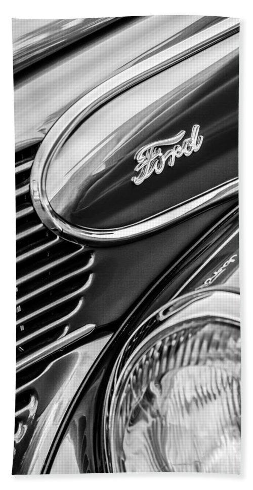 1939 Ford Woody Wagon Side Emblem Bath Sheet featuring the photograph 1939 Ford Woody Wagon Side Emblem by Jill Reger
