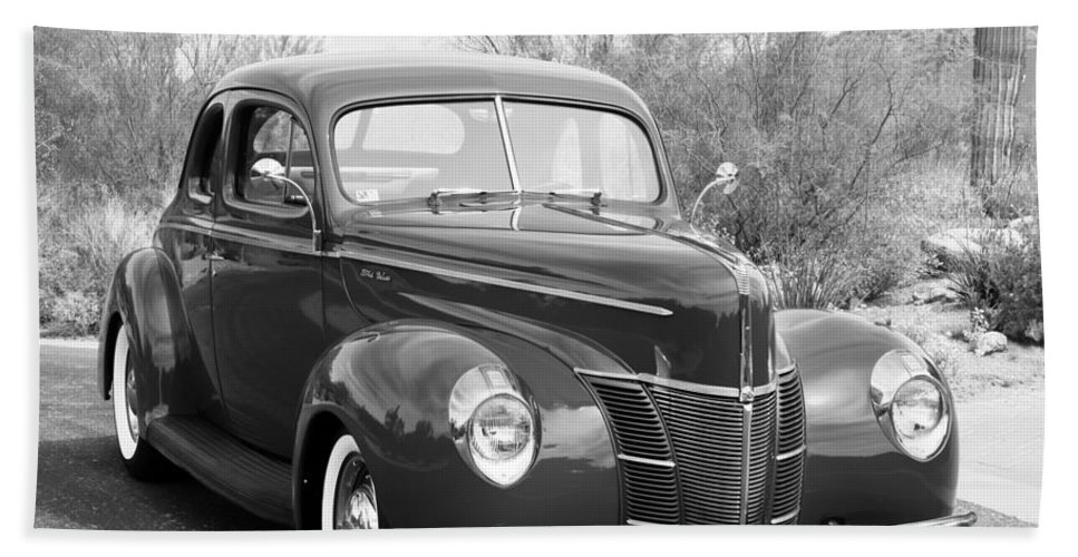 1940 Ford Deluxe Coupe Hand Towel featuring the photograph 1940 Ford Deluxe Coupe by Jill Reger
