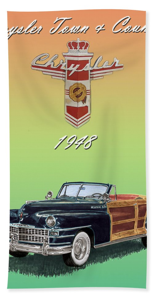 Framed Posters Of Chrysler Town & Country Convertibles.images Of 1941 Plymouth Woodies. Framed Photography Art Of Woody�s. Prints Of Cool Wood-paneled Station Wagons. Wrecked 1946 Ford Woody�s. Prints Of 1941 Plymouth Woodies. Prints Of 1941 Chrysler Town & Country Convertibles. Prints Of 1948 Ford Sportsmen Convertibles. Prints Of 1950 Ford Woody�s. Bath Sheet featuring the painting 1948 Chrysler Town And Country by Jack Pumphrey