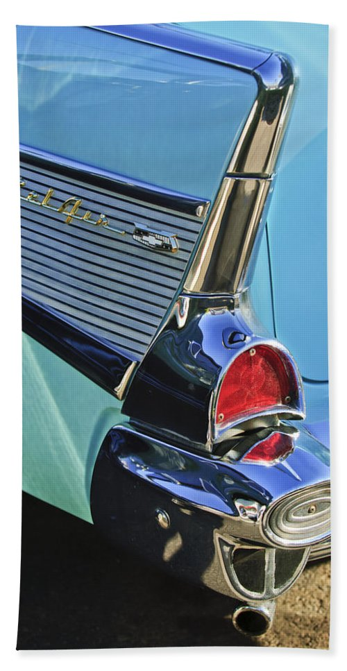 1957 Chevrolet Belair Hand Towel featuring the photograph 1957 Chevrolet Belair Taillight by Jill Reger