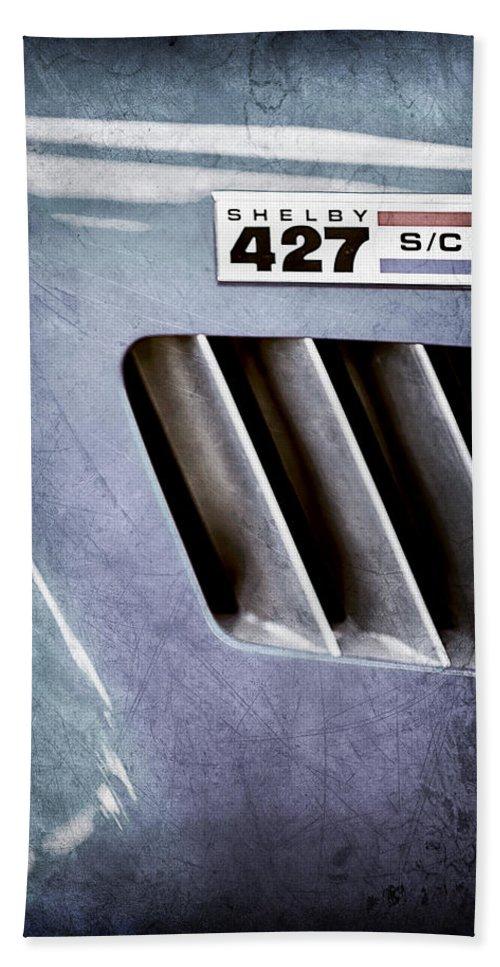 1965 Shelby Cobra 427 Emblem Hand Towel featuring the photograph 1965 Shelby Cobra 427 Emblem by Jill Reger