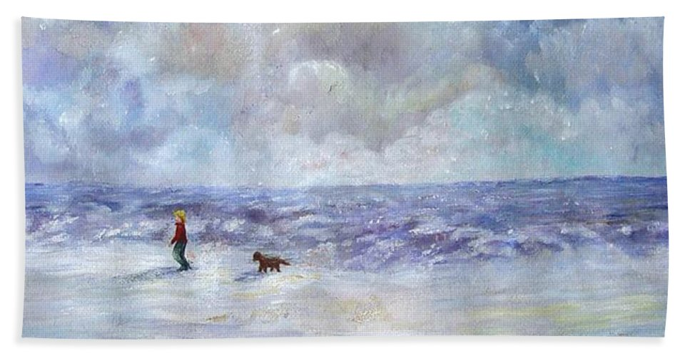 Ocean Hand Towel featuring the painting 34th St. Beach by Loretta Luglio