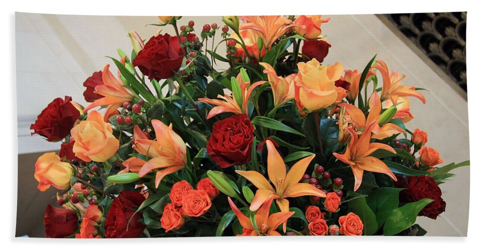 Flowers Bath Sheet featuring the photograph A Gallery's Flowers by Cora Wandel