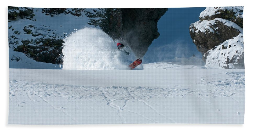 Adult Hand Towel featuring the photograph A Male Snowboarder Makes A Series by Jason Abraham