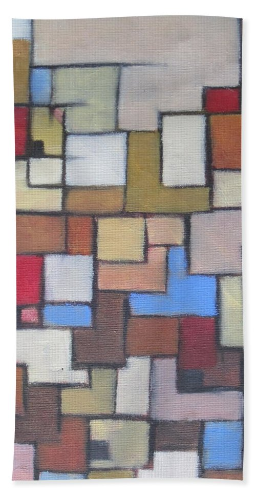 Abstract Hand Towel featuring the painting Abstract Line Series by Patricia Cleasby