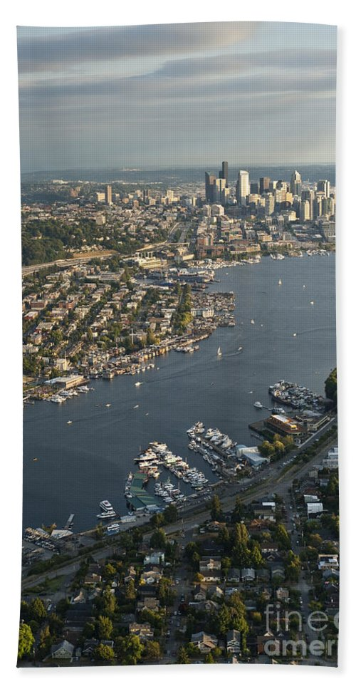 Elliott Bay Bath Sheet featuring the photograph Aerial View Of Seattle by Jim Corwin