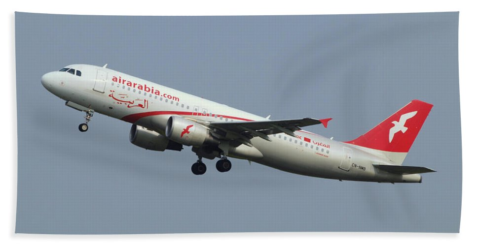 Cn-nmb Air Arabia Maroc Airbus A320-214 - Cn 3833 Take-off 14julair Hand Towel featuring the photograph Air Arabia Maroc Airbus A320 by Paul Fearn