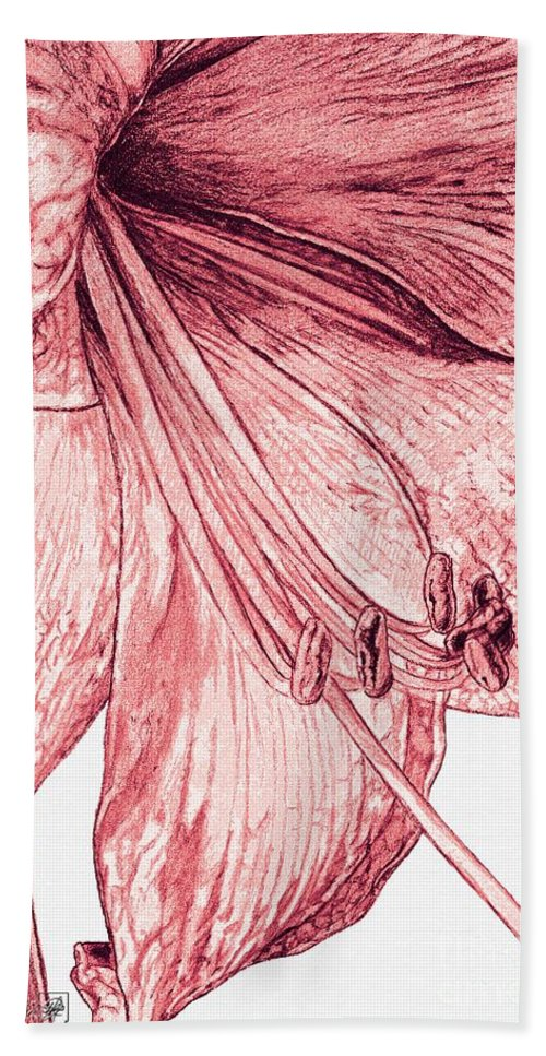 Mccombie Hand Towel featuring the painting Amaryllis by J McCombie