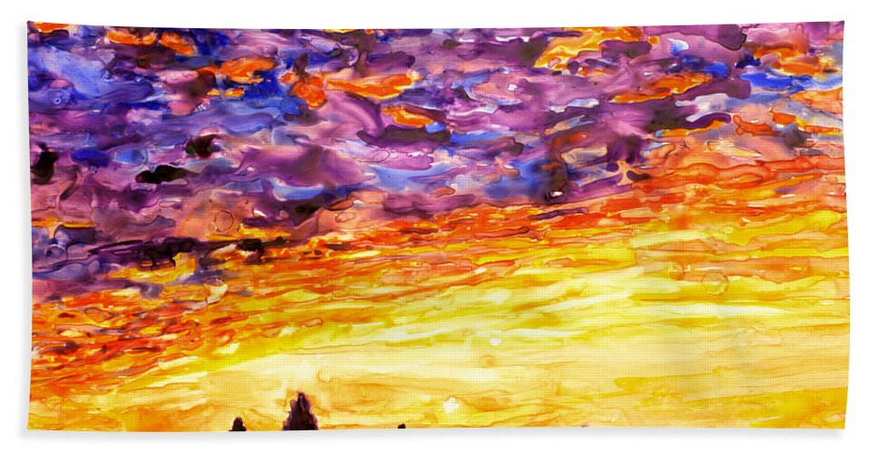 Yupo Hand Towel featuring the painting Angkor Sunrise by Ryan Fox