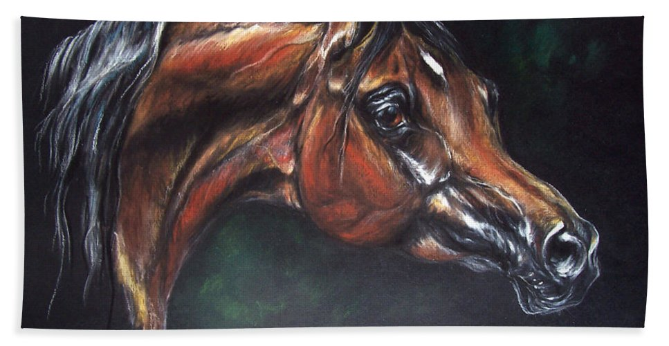 Horse Hand Towel featuring the pastel Arabian Horse by Angel Ciesniarska