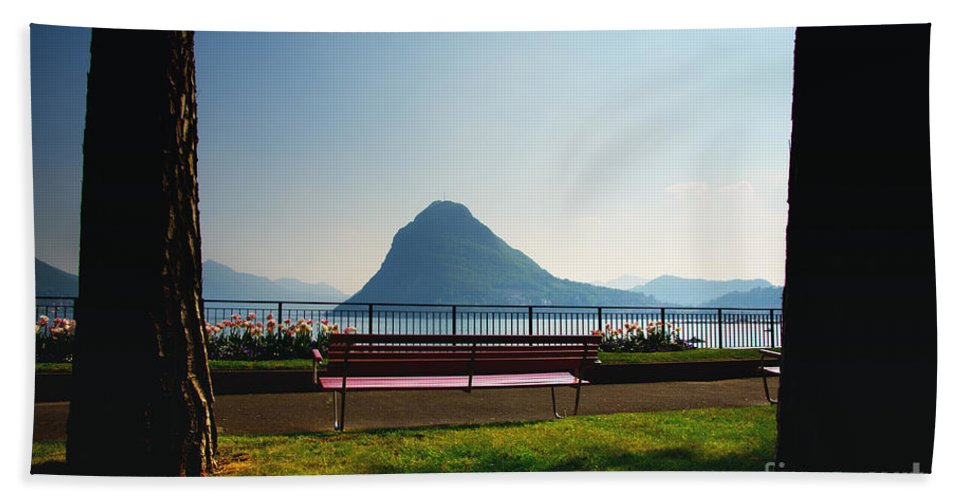 Bench Bath Sheet featuring the photograph Bench On The Lakefront by Mats Silvan