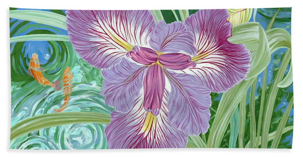 Purple Iris Flower And Buds Bath Sheet featuring the painting Beverly by John Wilson