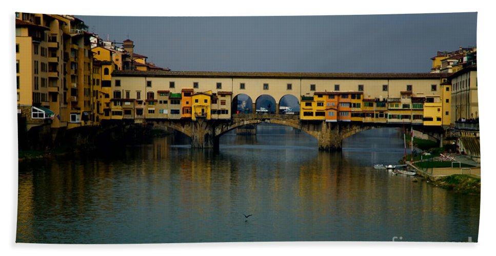 Bridge Bath Sheet featuring the photograph Bridge In Florence by Mats Silvan