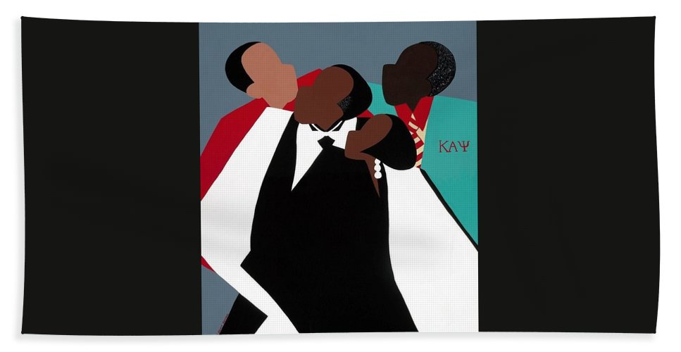 Kappas Hand Towel featuring the painting Brotherhood by Synthia SAINT JAMES