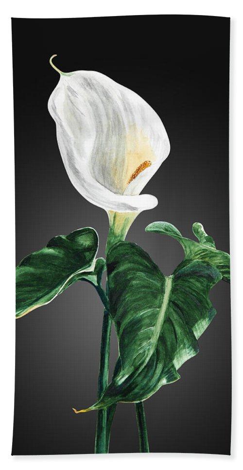 Flowers Bath Sheet featuring the painting Calla by Masha Batkova