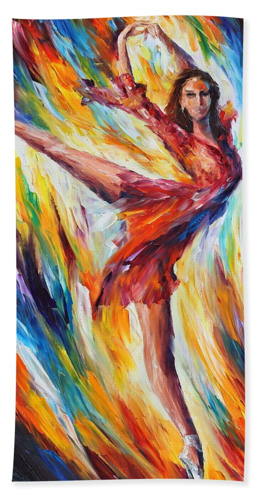 Dance Bath Towel featuring the painting Candle Fire by Leonid Afremov