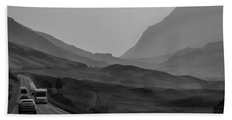 2 Lane Highway Bath Sheet featuring the photograph Cars And Other Vehicles In The Scottish Highlands by Ashish Agarwal