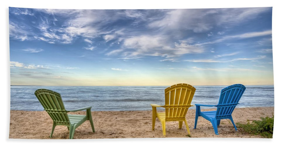 Chairs Hand Towel featuring the photograph 3 Chairs by Scott Norris