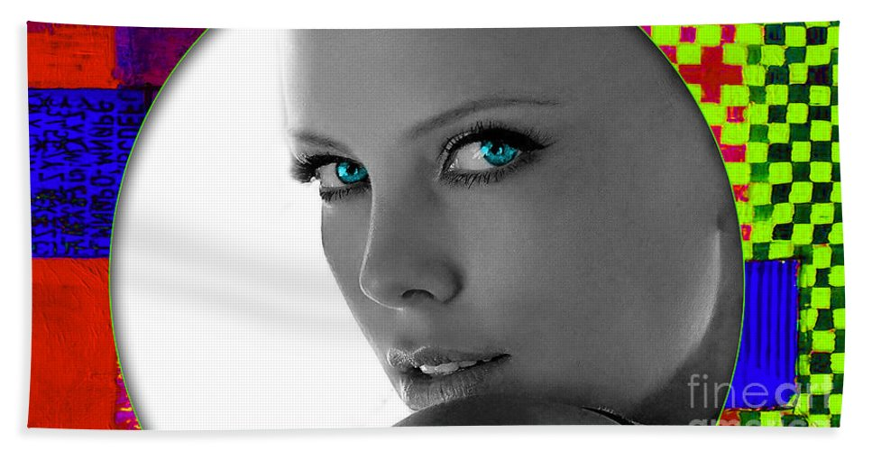 Charlize Theron Hand Towel featuring the mixed media Charlize Theron by Marvin Blaine