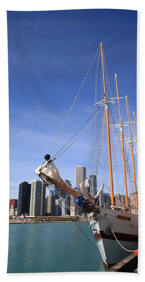 America Bath Towel featuring the photograph Chicago Skyline And Tall Ship by Frank Romeo