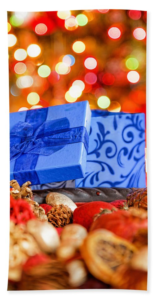 Background Bath Sheet featuring the photograph Christmas Box by Peter Lakomy
