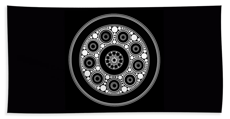 Circle Hand Towel featuring the painting Circle Motif 137 by John F Metcalf