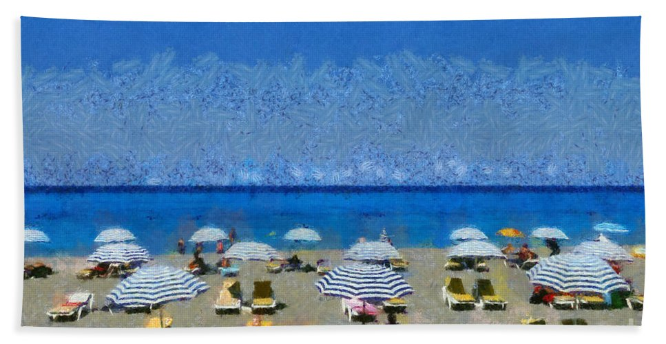 Rhodes Hand Towel featuring the painting Beach At The City Of Rhodes by George Atsametakis