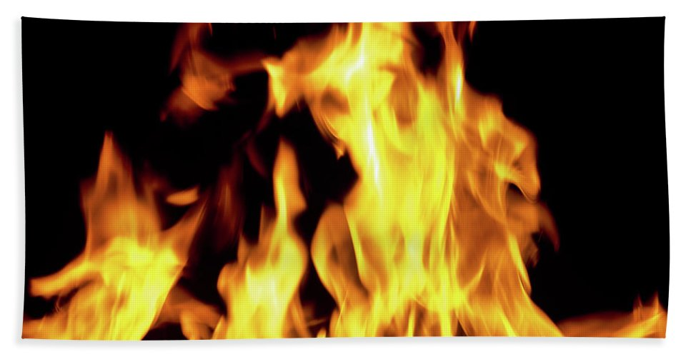 Photography Bath Sheet featuring the photograph Close-up Of Fire Flames by Panoramic Images