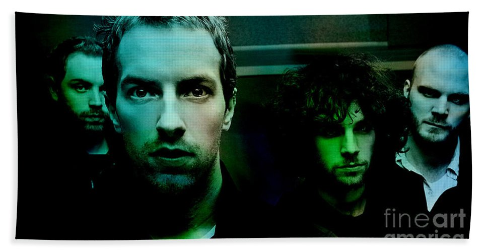 Coldplay Paintings Hand Towel featuring the mixed media Coldplay by Marvin Blaine